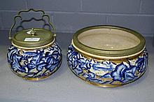 Blue and white biscuit barrel with matching bowl