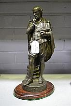 19th century spelter figure of Shakespeare, approx