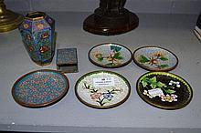 Five cloisonné plates, vase & match box holder,