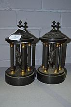 Pair of marble & spelter figural columns, approx