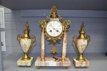 Antique French marble mantle clock garniture with