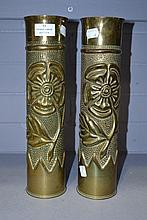 Pair of French WWI Trench art vases, approx 35cm H