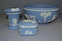Wedgwood Blue Jasper bowl, vase & trinket box,