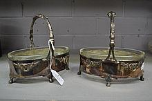 Silver plated pair of baskets, glass liners, each