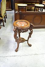 Antique French carved beech and walnut marble
