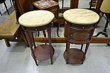 Pair of French Louis XVI style marble topped