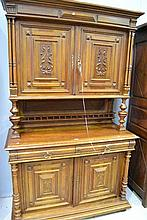 Antique French Henri II walnut buffet, approx