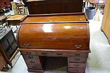 Antique mahogany cylinder twin pedestal desk, with