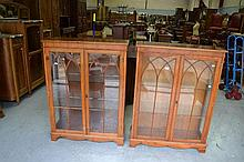 Pair of English Yew Georgian style display