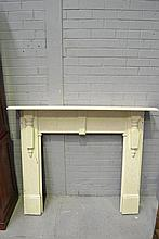 Antique painted pine fire surround, approx 117cm H