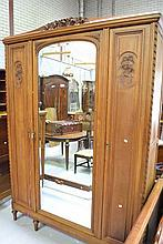 Vintage French Louis XVI style walnut three door