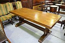 Vintage French solid oak trestle table with