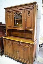 Antique French Louis XVI two piece walnut buffet,