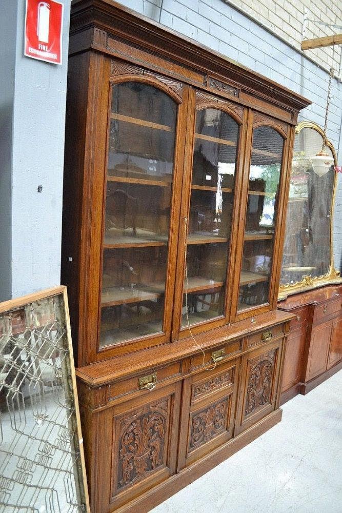 Antique English oak three door library bookcase,