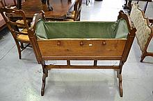 Antique French 19th century carved walnut cradle