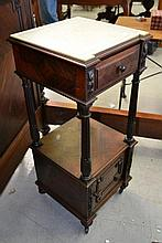Antique French marble topped rosewood nightstand