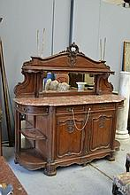 Antique French carved oak breakfront sideboard,