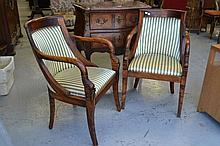 Pair of French Empire style armchair chairs (2)