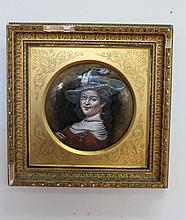 Pierre Bonnaud (1865-1930) Antique 19th century circular enamel copper plate portrait of an early 16th century lady, mounted in Original frame by Doig Mc Kechnie & Davies Fine Art Salon Edinburgh, approx 31.5cm H x 31.5cm W (including frame)