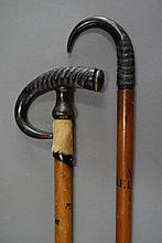 Two Swiss 19th century walking sticks, both with