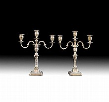 Pair of sterling silver three light candelabra.