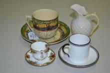 Royal Doulton, Belisk, cups, saucers and milk jug, jug approx 11cm H