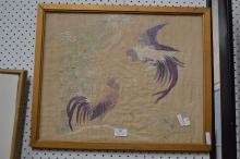 Framed Antique Oriental silk picture, of cockerels, approx 50cm x 40cm