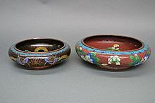 Two Cloisonné bowls, approx 25cm D and 20cm D