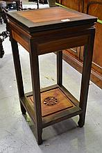 Oriental hardwood two tier jardiniere table,
