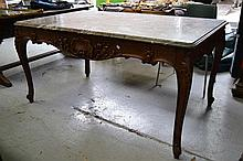 Antique carved oak Louis XV style marble topped