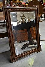 Antique French carved walnut wall mirror, approx