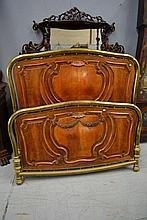 Impressive antique French carved walnut bed with