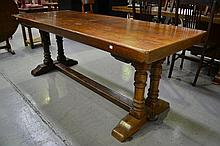 Vintage French refectory table, slab top with turn