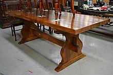 French period style trestle table with slab top,