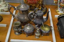 Selection of French silver plate items, tea pot, pepper pot, sugar bowl, etc, 23cm H and shorter (6)