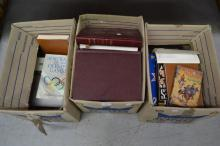 Three boxes of various books (3 boxes)