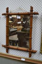 French faux bamboo mirror, approx 53cm x 43cm