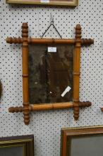 French faux bamboo mirror, approx 47cm x 41cm