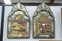 A pair of small venetian style parlour mirrors, aged antique glass, each approx 51cm x 31cm