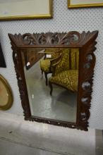 Antique French Henri II carved mirror, approx 100cm x 76cm