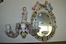 Sitzendorf, antique figural porcelain mirror and figural mounted candle sconce, mirror 35cm x 28cm