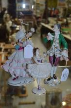 Three Dresden style porcelain figures, approx 22cm H and shorter (3)