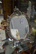 Rococo style Boudoir mirror cast metal easel back, approx 28cm H
