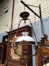 French five arm Gasalier bronze light with original milk glass shade