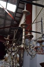 French polished pewter chandelier