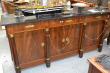 French Empire style enfilade buffet, approx 101cm H x 210cm W x 55cm D