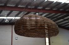 Modern designer multi coloured ribbon and wire fish trap form ceiling light