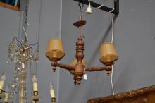Vintage French turned wood three light chandelier