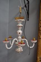 Vintage bohemian overlay cranberry glass five light chandelier