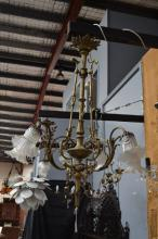Vintage French bronze six light chandelier, in the Louis XVI style